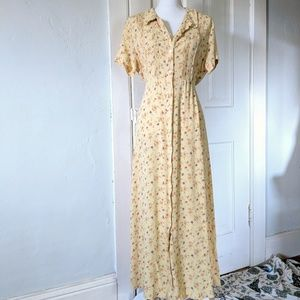 90s GAP L Whimsical Floral Button Front Maxi Dress